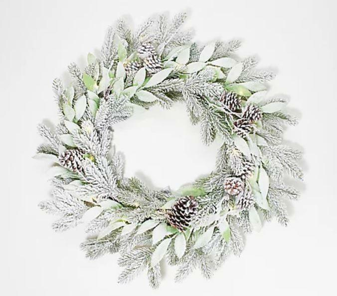 """Home Reflections 24"""" Frosted Greenery Wreath"""
