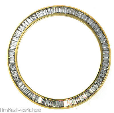Rolex Datejust 3.50ct Yellow Gold Baguette Diamond Bezel NEW