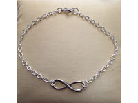 Silver plated Infinity bracelet with /without Tibetan silver rhinestone charm