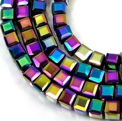 50 Czech Firepolish Glass Faceted Cube Beads 3-4mm - Metallic Peacock rainbow