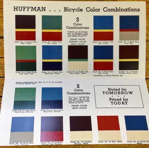 antique 1941 HUFFMAN bike Catalog BICYCLE COLOR COMBINATIONS