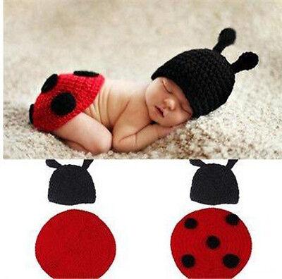 Infant Newborn Baby Crochet Knit Ladybug Hat Cap Outfit Photography Prop Costume - Newborn Ladybug Costume