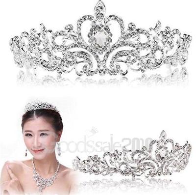 Bridal Princess Austrian Crystal Tiara Wedding Crown Veil Hair Accessory Silver - Bridal Tiaras