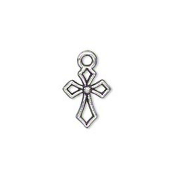 Silver Cross Charms 17mm Antiqued Christian Jewelry Craft Lot of 25