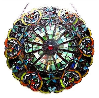 "Round Tiffany Style Stained Glass Victorian Window Panel 23""  ~ONE THIS PRICE~"