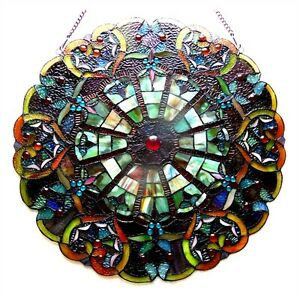 949f6c58c85 Round Tiffany Style Stained Glass Victorian Window Panel 23