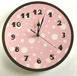 Pink and Brown Wood Wall Clock 11 Diameter w/Second Hand Dots Brown Numbers NEW