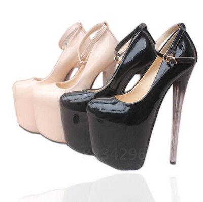 Sexy Nachtclub Damen PU Lackleder High Heel Stiletto Pumps Schuhe Platform Lack High Heel Platform