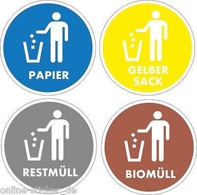Aufkleber Mülltonne Abfall Recycling  Wertstoffkennzeichnung 100mm 4 Stück