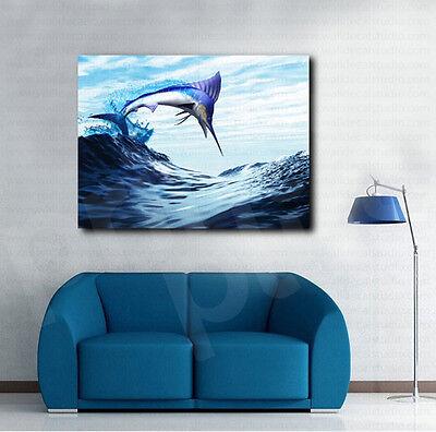 Blue Marlin Fish Burst Through Wave Digital Art Canvas Poster Print  Wall Decor Burst Wall Decor