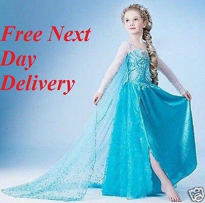 Eiskönigin Kleid Elsa Prinzessin blau Kinder-Kostüm Königinnenkostüm UK Mädchen