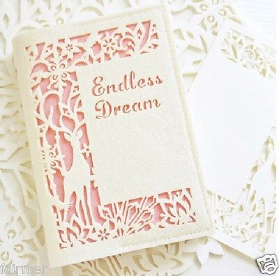 New Handmade Retro Vintage Beige Pink Felt Cover Blank Journal Diary Note Book