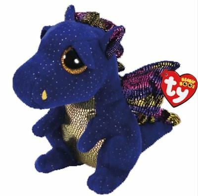 "Blue Dragon 6"" Ty Beanie Boos Puppy Glitter Big Eyes Plush Stuffed Animals Toy"