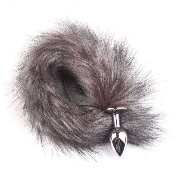 Cosplay False Fox Tail With Metal Anal-Butt Plug Funny Toy Games Rabbit Tail
