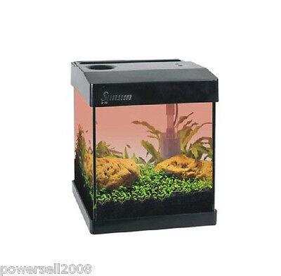 G20 Mini Glass Enclosed Small Ecological Gift Aquarium Square Fish Tank Black &$