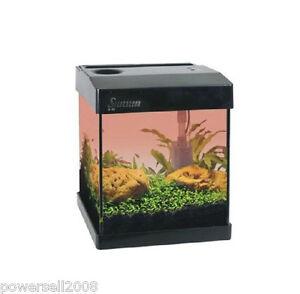 ... -Glass-Enclosed-Small-Ecological-Gift-Aquarium-Square-Fish-Tank-Black