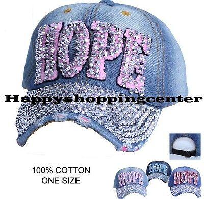 Hope Rhinestone - Rhinestone Bling Vintage Denim Silver Hope Baseball Blue Jean Cap Hat