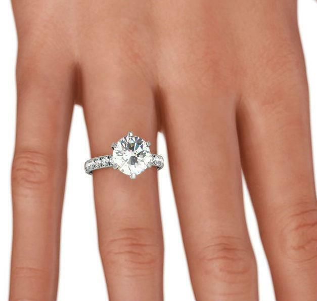 2 Ct Diamond Ring Round Brilliant 14 Kt White Gold Anniversary Size 4.5 5 6 7 8