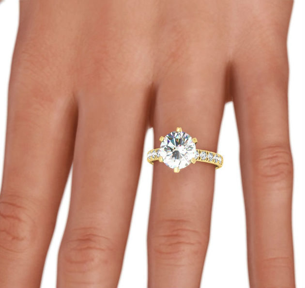 3 Ct Diamond Ring Round Shape Estate 14 Karat Yellow Gold Solitaire W Accents