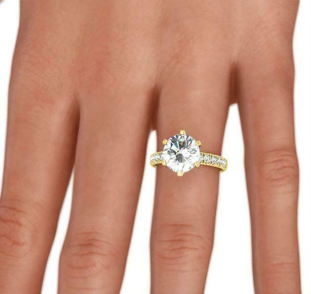 Si2 Six Prong Diamond Ring Round 14 Kt Yellow Gold Accents 2.2 Carats Awesome