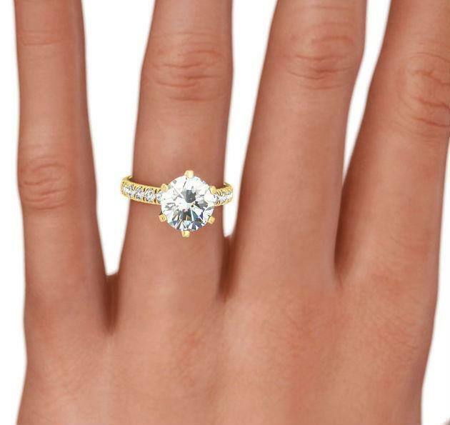 2.5 Ct Accents Round Diamond Ring Women Vs1 D Colorless 18 Karat Yellow Gold