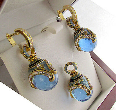 SUPERB ENAMEL EGG PENDANT and EARRINGS SET STERLING SILVER 925 BLUE TOPAZ