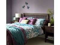 Stunning teal purple lilac floral double duvet cover with 2 pillowcases Sainsbury's