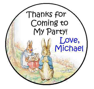 PETER RABBIT BIRTHDAY PERSONALIZED ROUND PARTY STICKERS FAVORS~ VARIOUS SIZES](Peter Rabbit Party Supplies)