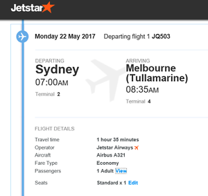 Sydney to Melbourne 22/05/2017 Jetstar Yarralumla South Canberra Preview