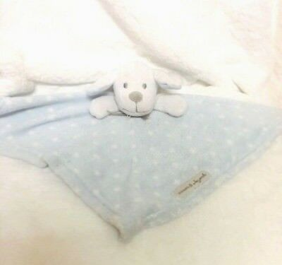 Blankets & Beyond Blue White Puppy Dog Baby Security Blanket Lovey Polka Dots