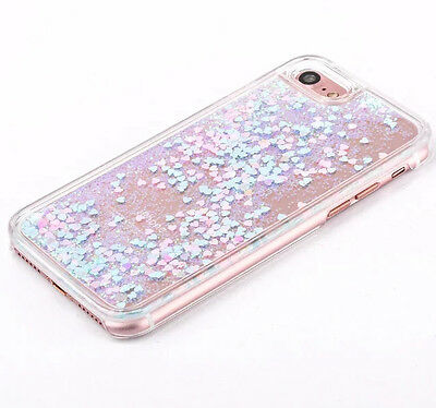 (iPhone 5S/SE 6/6S / 7+PLUS - BLUE PINK Glitter Hearts Waterfall Liquid Hard Case)