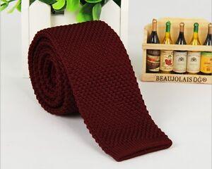 Men's Burgundy Tie Knit Knitted Tie Necktie Narrow Slim Skinny Wove ZZLD916