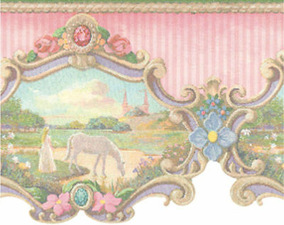 Tales Border - York Princess and Castle Fairy Tale Wallpaper Border 20.5 In. Tall  JV6216B