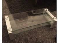 Small White Glass TV Stand for Sale