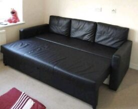 FREE DELIVERY IKEA FRIHETEN BLACK LEATHER 3 SEATER SOFA BED EXCELLENT CONDITION