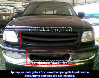 Fits 1997-1998 Ford F-150 4WD Bar Style/Expedition Black Billet Grille -