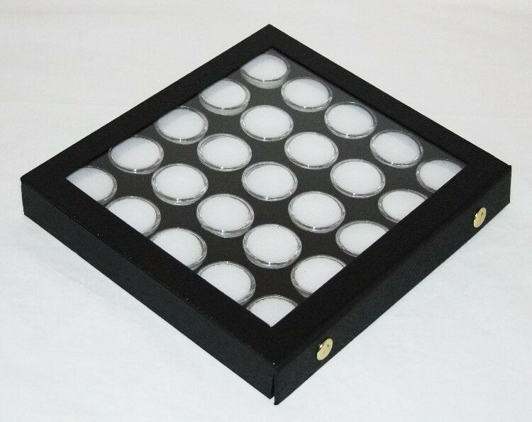 Gem Storage Attached Top Case 25 Jars Black Foam White Jars