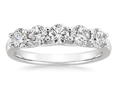 Diamond  Ring Wedding Band  14k White Gold 1.00 Carat Trellis Shared Prong  ()