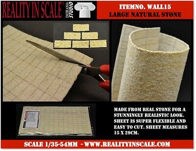 Reality In Scale 1:35 Real Natural Stone Wall 15X29cm Square Stone #WALL15
