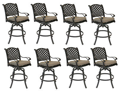 Nassau bar stools Set of 8 swivel outdoor patio furniture cast aluminum.