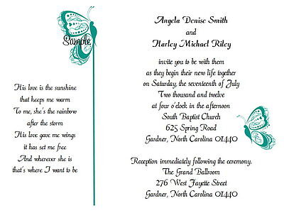 100 Personalized Custom Turquoise Butterfly Bridal Wedding Invitations - Butterfly Invitations
