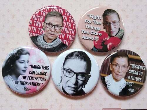 """Ruth Bader Ginsburg button set, Lot of 5-1.25"""" Fight, Truth, Ginsburg Quotes, RB"""