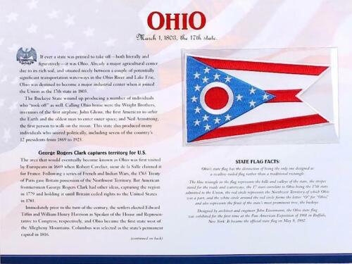 OHIO ~ Willabee & Ward STATE FLAG PATCH INFO CARD United States Flag Collection