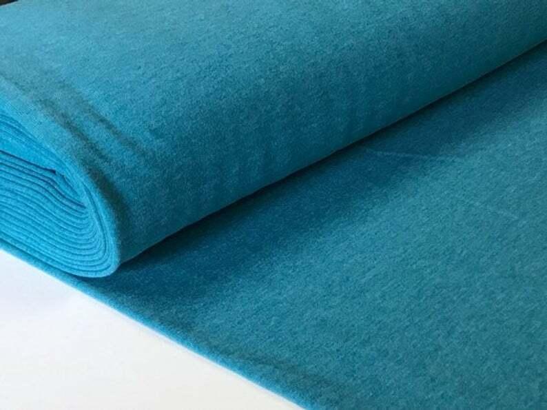 Sweatstoff meliert uni viele Farben METERWARE ÖKOTEX angeraut 140 cm breit Petrol