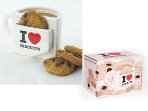 I Love Biscuits Mug novelty cookie pocket mug white ceramic teatime mug gift
