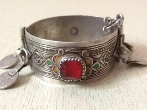 Antique Moroccan Silver Berber Bracelet with old silver coins