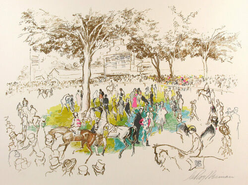 "Leroy Neiman      ""ascot Paddock""   Make  Offer"