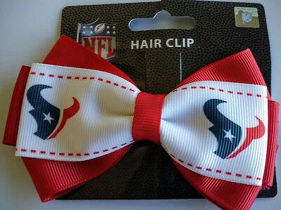Houston Texans Football Team Logo NFL Grace Collection 2 Tone Bow Hair Clip