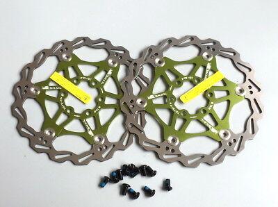 Snail MTB Mountain Bike Bicycle Brake Disc 160mm Floating Pads 6 Bolt  AYP