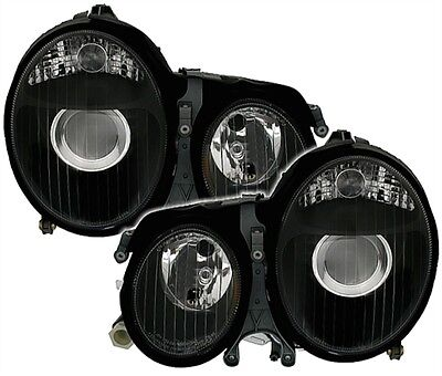 2 Headlights Front Mercedes E Class W210 1999-2002 320 55 AMG Lights Black for sale  Shipping to Ireland
